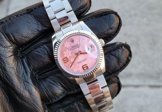 rolex replica γυναικειo datejust pink flowers 36mm