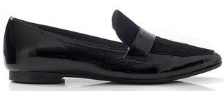 Loafers σε λουστρίνι και pony skin λεπτομέρεια CHANIOTAKIS Μαύρο Γυναίκα Loafers 223 BLACK