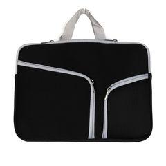 Double Pocket Zip Handbag Laptop Bag for Macbook Air 11.6 inch(Black)