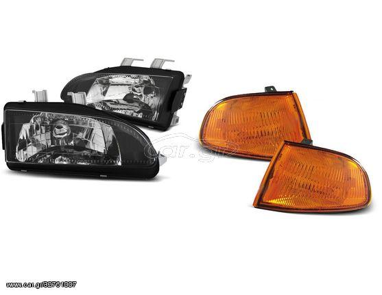 Set Φανάρια Μαύρα & Φλας Πορτοκαλί Honda Civic 09.91-08.95 2D/3D (CAR21601)