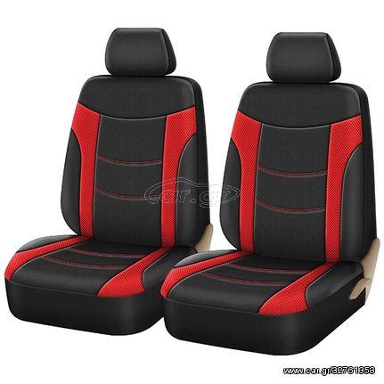 Καλύμματα Υφασμάτινα Super Sport All In One Μαύρο Κόκκινο 4 Τεμαχίων  Ζευγάρι Μπροστινά (CAR22154)