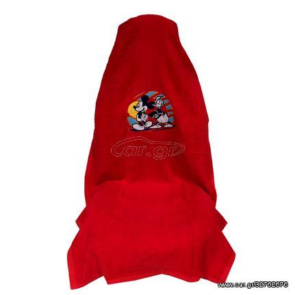 Πλατοκάθισμα Πετσέτα Αυτοκινήτου Ριχτή 1 τεμ. 160x70cm Κόκκινο Mickey Mouse και Donald Duck (CAR23801)