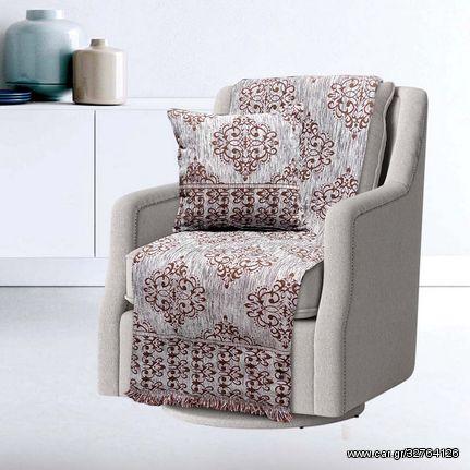 Ριχτάρι Τριθέσιου Sofa Throws Verona Silver Chenille Jacquard Sb Concept (180x300) 1Τεμ