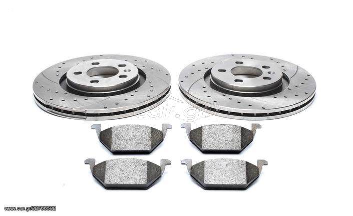 Σετ TA Technix σπορ δισκόφρενα Δισκόπλακες τρυπητά σετ εμπρός άξονας  για   Citroen / Peugeot