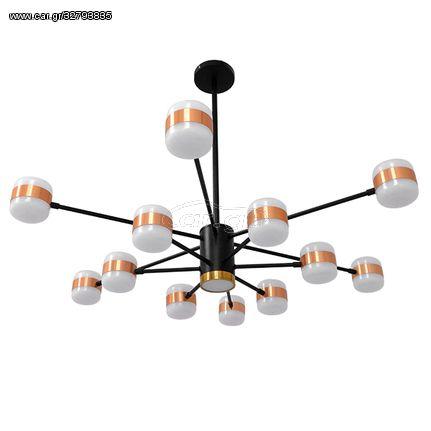 Μοντέρνο Φωτιστικό Οροφής LED 104 Watt Πολύφωτο Μαύρο με Μπρονζέ και Χρυσές Λεπτομέρειες Μεταλλικό Φ63 Λευκό Ημέρας 4500k   LK-01553