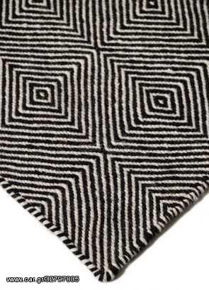Μάλλινο Χειροποίητο Κιλίμι Herringbone Τετράγωνο Μαύρο-Άσπρο - 160x230