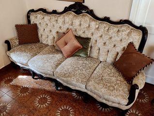 Σαλόνι καναπές 4 θέσιος  2 πολυθρόνες 2 καρέκλες 3 τραπεζάκια