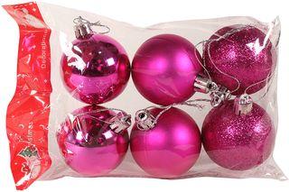 Χριστουγεννιάτικες μπάλες Φ4 εκ. τεμ. 6 χρ. φούξια - KESKOR 136004-3