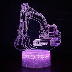 3W Excavator 3D Light Colorful Touch Control Light Creative Small Table Lamp with Crack Base, Style:Touch Switch