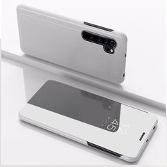 For Xiaomi Note 10 Pro Plated Mirror Horizontal Flip Leather Cover with Stand Mobile Phone Holster(Silver)