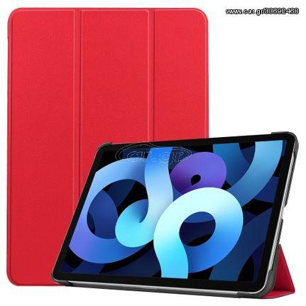 Δερμάτικη Θήκη Βιβλίο Tri-Fold με Βάση Στήριξης για iPad Air (2020) - Κόκκινο