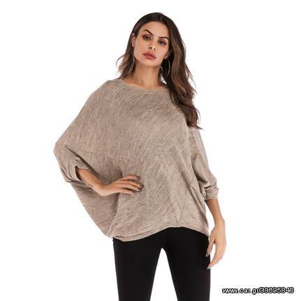 Fashion Loose Bat Round Neck Long Sleeve Blouse (Color:Apricot Size:One Size)