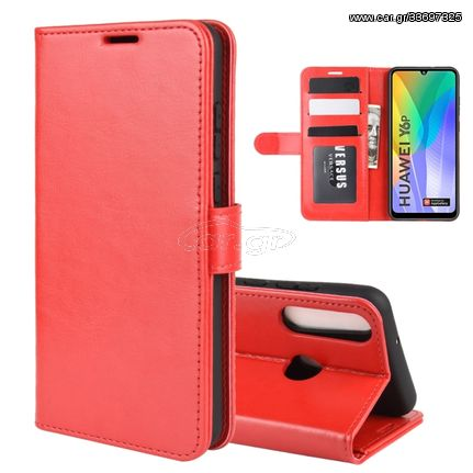 For Huawei Y6p R64 Texture Single Horizontal Flip Protective Case with Holder & Card Slots & Wallet& Photo Frame(Red)