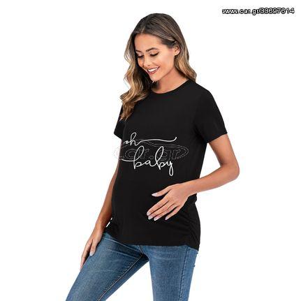Short Sleeve Printed T-shirt (Color:Black Size:XL)
