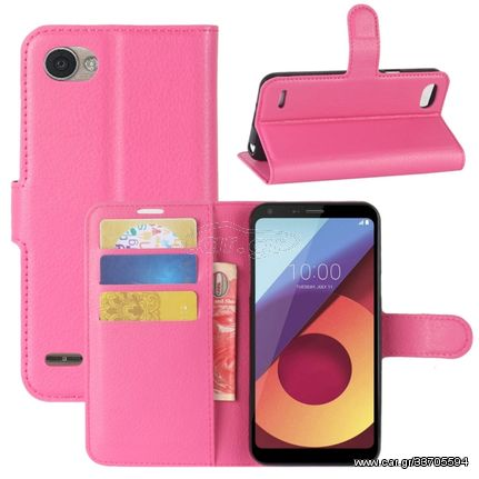 For LG Q6 Litchi Texture Horizontal Flip Leather Case with Holder & Card Slots & Wallet (Magenta)