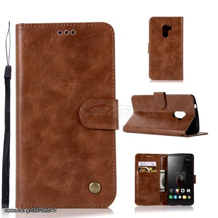 For Lenovo A7010 Retro Copper Button Crazy Horse Horizontal Flip PU Leather Case with Holder & Card Slots & Wallet & Lanyard(Brown)
