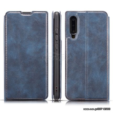 Retro Simple Ultra-thin Magnetic Horizontal Flip Leather Case for Galaxy A70, with Holder & Card Slots & Lanyard (Blue)