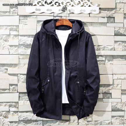 Simple Solid Color Casual Loose Hooded Jacket (Color:Blue Size:XXXXXXXXXL)
