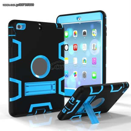 For iPad Mini 3 / 2 / 1 Shockproof PC + Silicone Protective Case,with Holder(Black Blue)