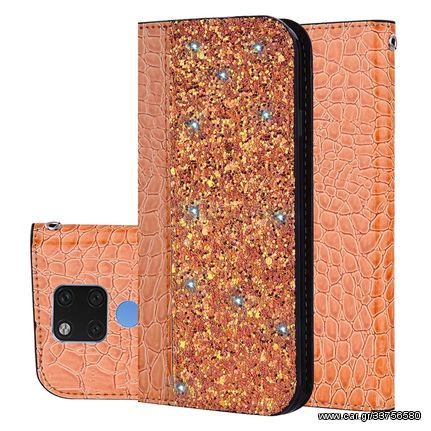 Crocodile Texture Glitter Powder Horizontal Flip Leather Case for Huawei Mate 20, with Card Slots & Holder (Orange)