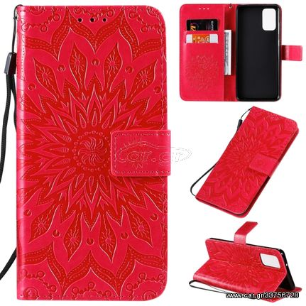 For Galaxy S20+ Sun Print Horizontal Flip Protective Case with Holder & Card Slots & Wallet(Red)