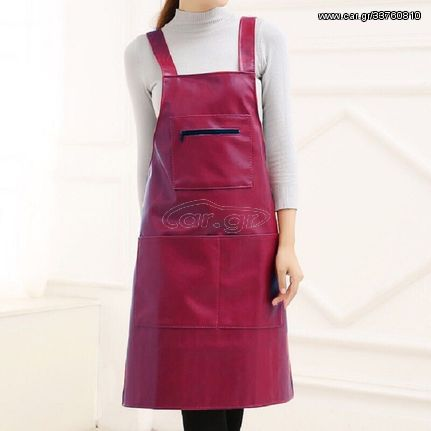 Waterproof Oil Proof Soft Leather Thick Wear-resistant Men and Women Overalls Apron(Wine Red)