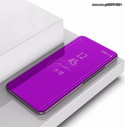 For LG V50 Plating Mirror Left and Right Flip Cover with Bracket Holster(Purple)