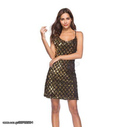 Suspender V-neck Embroidered Sequin Single Breasted Slim Dress Evening Dress (Color:Gold Size:L)