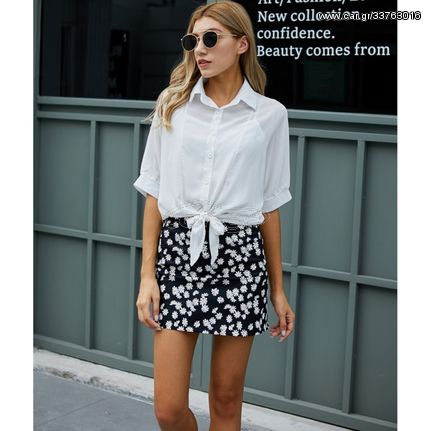 Casual Outdoor Shirt With Decor Skirt (Color:Black Size:S)