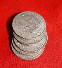Πεντε  νομισματα  των 5δραχμων ετος 1930