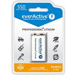 Επαναφορτιζόμενη μπαταρία με USB everActive 6F22/9V Li-ion 550 mAh