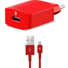 TTEC SpeedCharger™ Ταχυφορτιστής Ταξιδιού + Καλώδιο Micro USB Red (2SCS01K)