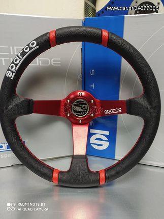 Μεγάλη Προσφορά !!!Τιμόνι sparco βαθύ δερματινο κοκκινο ΜΟΝΟ 40 ευρώ !!!! ️6971886251