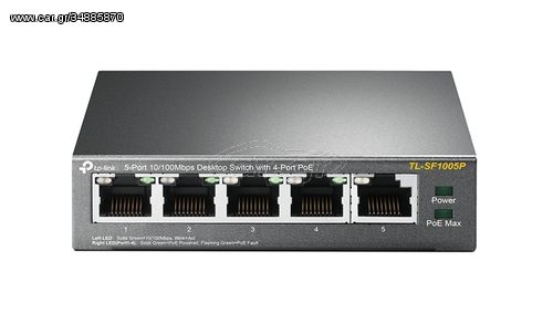 TP-LINK TL-SF1005P Unmanaged Fast Ethernet (10/100) Power over Ethernet (PoE) Black network switch(TL-SF1005P)