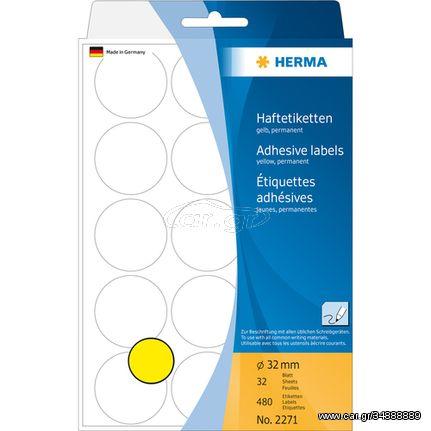 HERMA Multi-purpose labels/colour dots Ø 32 mm round yellow paper matt hand inscription 480 pcs.(2271)