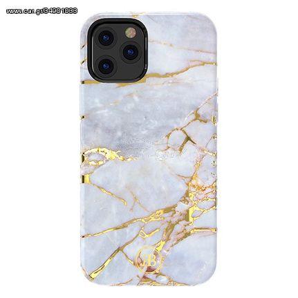 Kingxbar Marble Series case decorated printed marble iPhone 12 Pro Max whiteblue