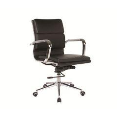 BF4801 Πολυθρόνα Γραφείου Χρώμιο / PU Μαύρο