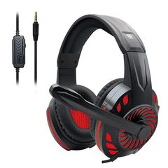 KOMC S60 3.5mm Wired Gaming Headphones With Mic - Black/Red