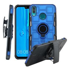 For Huawei Y9 (2019) / Enjoy 9 Plus 3 In 1 Cube PC + TPU Protective Case with 360 Degrees Rotate Black Ring Holder(Blue)