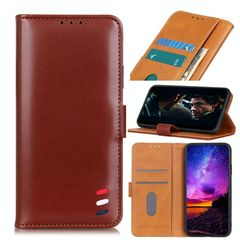 For OnePlus 8 Pro 3-Color Pearl Texture Magnetic Buckle Horizontal Flip PU Leather Case with Card Slots & Wallet & Holder(Brown)