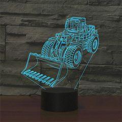 Excavator Shape 3D Colorful LED Vision Light Table Lamp, Crack Touch Version