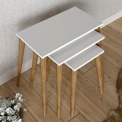Βοηθητικά τραπέζια σαλονιού Moze PakoWorld σετ 3τεμ χρώμα λευκό-καφέ 58x32x55εκ pakoworld