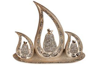 Διακοσμητικά κεραμικά τεμ. 3 με πιατέλα Αχλάδι Χρυσό - KESKOR 78499