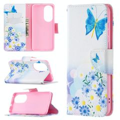 For Huawei P50 Colored Drawing Pattern Horizontal Flip Leather Case with Holder & Card Slots & Wallet(Pansy)