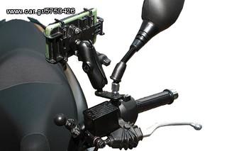 Ρυθμιζόμενη βάση RAM mount για κινητό, GPS, smartphone με στήριξη στον καθρέπτη
