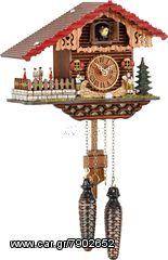 Ρολόι κούκος με χειροποίητη παράσταση αλπικού σπιτιού,με μουσικούς. Κωδ:457 QT --- www.CuckooClock.gr ---