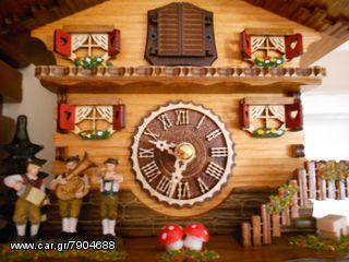 Ρολόι κούκος με χειροποίητη παράσταση αλπικού σπιτιού,με μουσικούς. Κωδ: 458 Q --- www.CuckooClock.gr ---
