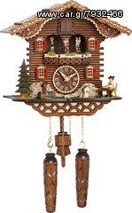 Ρολόι κούκος με χειροποίητη παράσταση αλπικού σπιτιού, με χορευτές και μουσική. Κωδ: 4209QMT --- www.CuckooClock.gr ---