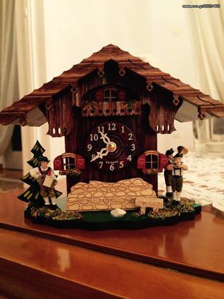 Ρολόι κουκουλίνο,επιτραπέζιο ή κρεμαστό,με χειροποίητη παράσταση αλπικού σπιτιού. Κωδ: 083 Q/NEU --- www.CuckooClock.gr ---