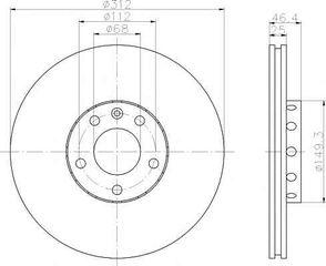Δισκόπλακα εμπρόσθια 312x25 (ΚΑΙΝΟΥΡΓΙΟ). VW,SKODA , PASSAT 2001-2005 , SUPERB 2002-2008